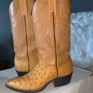 Genuine ostrich leather boots sz 7 men's fit 8 wms